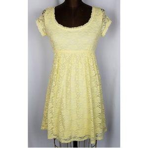 B.Smart yellow lace overlay dun dress S